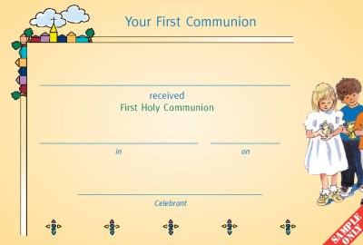 Communion Certificate Ref C27