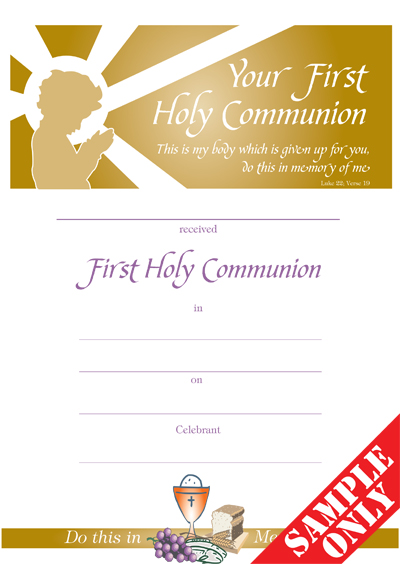 Communion Certificate Ref C30