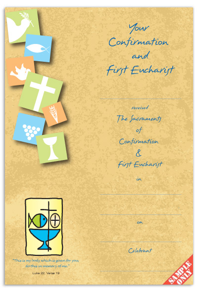 Confirmation & First Eucharist Certificate Ref CC71