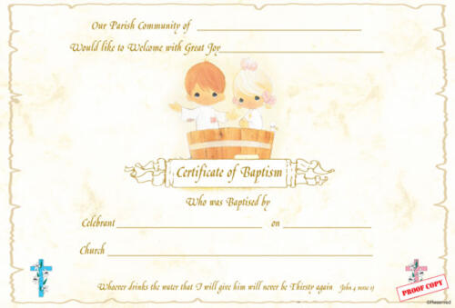 Baptism Certificate Reference BP01