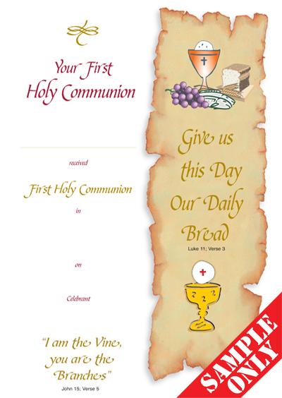 Communion Certificate Ref C29