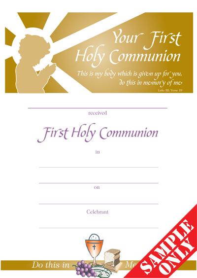 Communion Certificate Ref C30