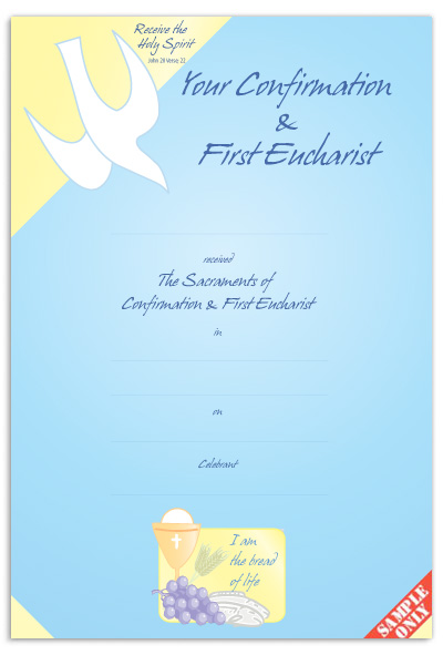 Confirmation & First Eucharist Certificate Ref CC70