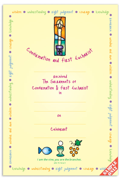 Confirmation & First Eucharist Certificate Ref CC74