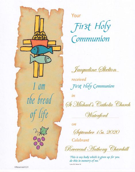 Personalized Communion Certificate Samples