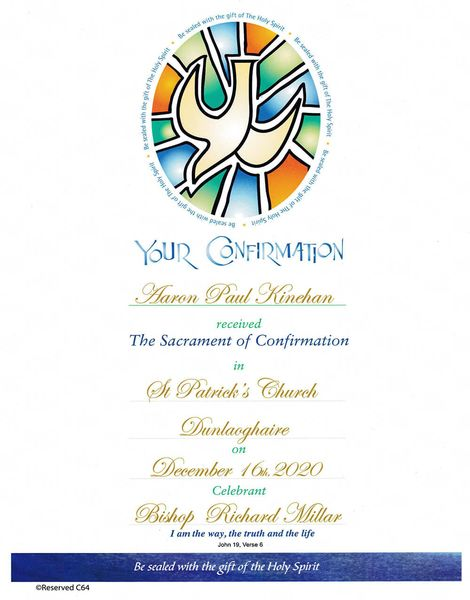Personalized Confirmation Certificate Samples