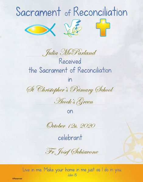 Personalized Reconciliation Certificate Samples
